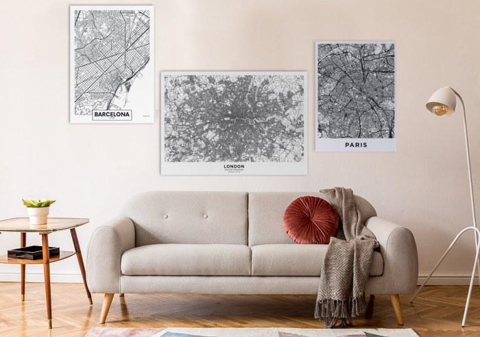 Obraz mapa czarno-biała